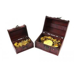【SCGEHA】宝箱 アンティーク 風 海賊 パイレーツ 財宝 お宝 小物入れ 木製 金貨 秘宝 ゴールド コイン (宝箱小+金貨50枚)