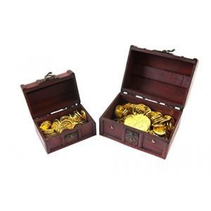 【SCGEHA】宝箱 アンティーク 風 海賊 パイレーツ 財宝 お宝 小物入れ 木製 金貨 秘宝 ゴールド コイン (宝箱大+金貨100枚)