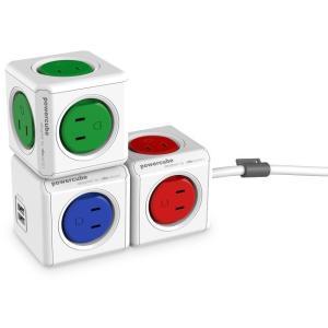 電源タップ パワーキューブ  PowerCube ドイツデザイン賞受賞 グレー4個口 USB 2口付 1.5m延長コード|scratch|04