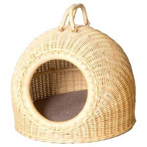 ラタンペットハウス(ペットキャリーバスケット) 小 GNM1321M/可愛いラタンのペットキャリーバスケット♪/ペット ネコ用品|scratch
