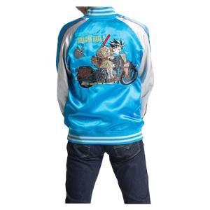 ドラゴンボールZ メンズスカジャン バイク柄 B22・ブルー 1113-701/「ドラゴンボールZ」のイラストが刺繍されたスカジャン☆/ナイトウエア scratch