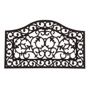 ラバーマット CE-6099 約45×75cm 230365300/北欧調のダマスク柄と美しいカーブが素敵な屋外用玄関マット。/敷物・カーテン|scratch