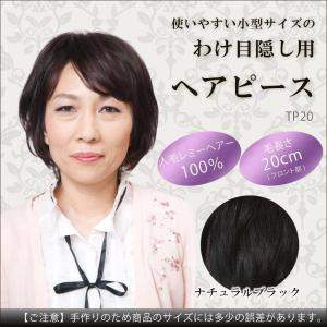 人毛100% わけ目隠し用の小型ヘアピース レミーヘアータイプ ナチュラルブラック TP20/ヘアケア|scratch