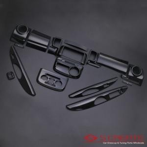 ◆3D立体インテリア内装ウッドパネル タント・タントカスタム(L375/L385) ピアノブラック 16ピース/16P / インパネ 内装|screate