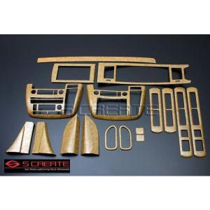 3D立体インテリア内装ウッドパネル エルグランド(E51(前期用)) 黄木目調 17ピース/17P / インパネ 内装|screate