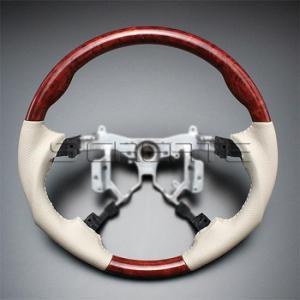 エスティマ ハイブリッド AHR20W [2006/6〜] スポーツタイプ ウッドコンビステアリング (茶木目/グレージュ) / steering ハンドル ホイール|screate