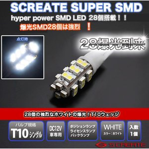 T10/T16ウェッジ 3chip(チップ) ハイパー28SMD LED爆閃光バルブ ホワイト 1個 (代引OK)