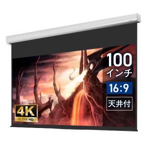 シアターハウス  電動プロジェクタースクリーン ケース付き (16:9) 100インチ ブラックマス...