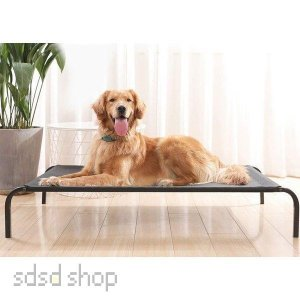 ペットベッド 脚付きコット型 猫/犬ベッド  耐噛み 耐汚れ素材 地面に離れ 通年利用 クッション付...
