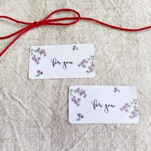 ピンクのお花の for youシール  筆記体 65枚 NO.144|se-label