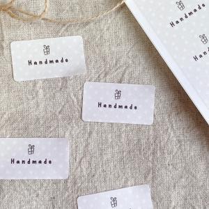シンプルがかわいい水玉のhandmadeシール ハンドメイドシール 65枚 NO.332|se-label