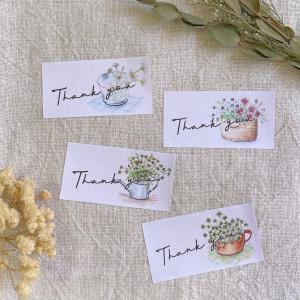 お花のThank you  筆記体 44枚 NO.350 se-label