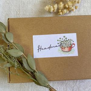 お花のHandmadeシール  筆記体 44枚 NO.353|se-label