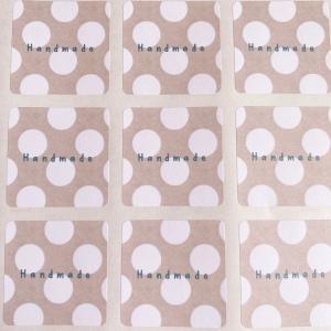 Handmadeシール  水玉 ラッピングに。 3cm正方形 40枚 NO.379|se-label