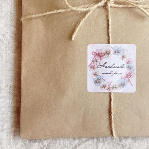 Handmadeシール  お花リース 3cm正方形 40枚 NO.406|se-label