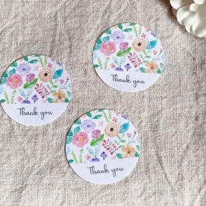 水彩お花のThank youシール   サンキューシール 3cm丸48枚 NO.518|se-label