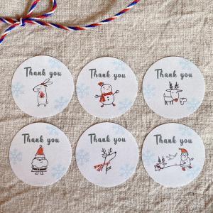 クリスマスの サンキューシール 6種  Thank youシール  48枚 NO.525 se-label