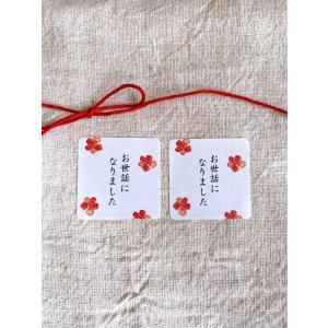 お世話になりましたシール  水彩梅 3cm正方形 40枚 NO.549|se-label