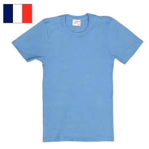 1点ならメール便可 フランス軍 半袖Tシャツ サックスブルー seabees
