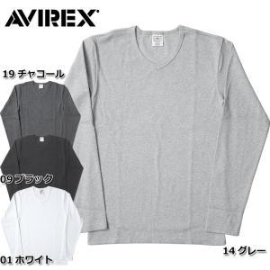 1点ならメール便送料無料 AVIREX アビレックス #6153480 デイリーシリーズ Vネック ロングスリーブ Tシャツ メンズ 4色 S-XL 無地 長袖 タイト seabees