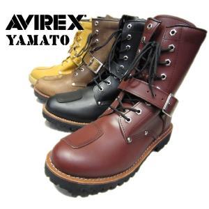 AVIREX #AV2100 YAMATO バイカーズブーツ ブラック クレイジーホース チェリーブラウン ゴールドヌバック|seabees