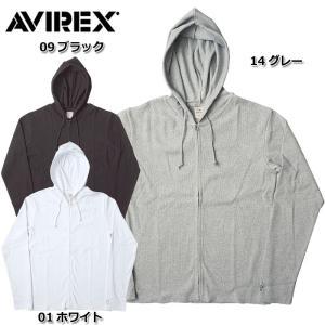 AVIREX アビレックス #6153641 デイリー ロングスリーブ フルジップ パーカー <br>メンズ 3色 S-XL フルジップ スウェット 長袖 無地 フード 羽織 seabees