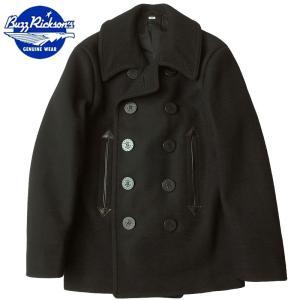 セール中 BUZZ RICKSON'S #BR12394 WILLIAM GIBSON COLLECTION 36oz. WOOL MELTON PEA COAT ブラック|seabees