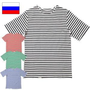 ロシア軍 ボーダーシャツ S/S ブラック ブルー seabees
