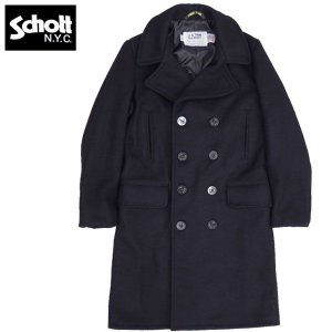 セール中 Schott #7331 ロング メルトン Pコート 87ネイビー 【送料無料・北海道・沖縄・離島は別途送料追加】  日本正規販売店|seabees