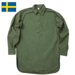 セール中 スウェーデン軍 M-55 プルオーバーシャツ 襟付き USED seabees