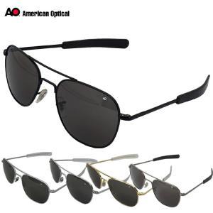 American Optical OP57 Original Pilot Sunglasses 57mm ブラック マットシルバー シルバー ゴールド|seabees