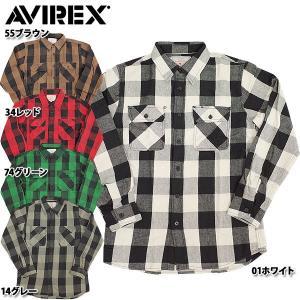 セール中 AVIREX #6115071 ブロックチェック フランネルシャツ 01ホワイト 14グレー 34レッド 74グリーン 日本正規販売店|seabees