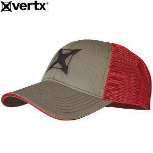 VERTX バーテックス #VTX9954 ダブルカラード メッシュキャップ 『SHURIKEN』 スモークグレー×レッド 日本正規販売店|seabees