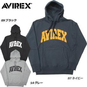 AVIREX #6153514 デイリー ロングスリーブ スウェット プルパーカー <br>09ブラック 14グレー メンズ フード 長袖  【日本正規販売店】 seabees