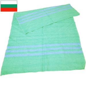 ブルガリア軍 ブランケット グリーン×サックスライン デッドストック|seabees