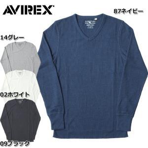 1点ならメール便可 AVIREX #6163462 デイリーシリーズ <br>ロングスリーブ サーマル Vネック Tシャツ <br>メンズ 全2色 S-2XL seabees