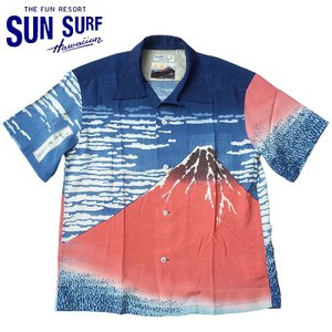 SUNSURF #SS37917 半袖 アロハシャツ SUN SURF×北斎 スペシャルエディション『凱風快晴』 <br>メンズ 128ネイビー S-XXL|seabees