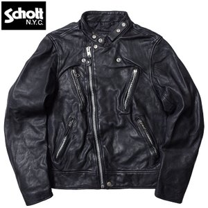 ノベルティープレゼント Schott #3181067 ダブル ブレスト ライダース <BR>メンズ 09ブラック S-2XL【TKA】 seabees