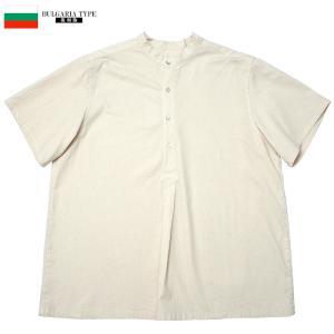 sale YMCLKYオリジナル ブルガリア軍タイプ 50's 半袖 グランパシャツ オフホワイト 新品  メンズ オフホワイト M-XL seabees
