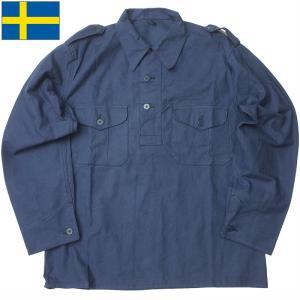 スウェーデン軍 プルオーバージャケット ネイビー プラスチックボタン デッドストック JJ247NN seabees