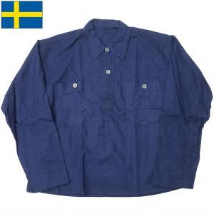 スウェーデン軍 プルオーバージャケット ネイビー アルミボタン デッドストック JJ247NN seabees