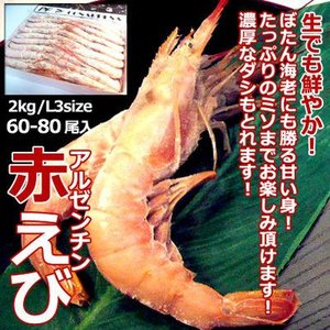 アルゼンチン赤海老 2kg 60-80尾入 ・アルゼンチン赤海老L3・