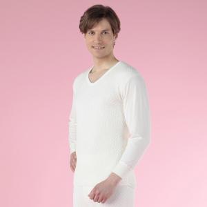 ひだまり健康肌着 ひだまり極(きわみ)紳士長袖U首シャツ WHオフホワイト/Sサイズ kc-akw900