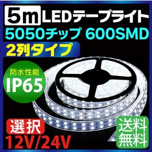 5m 5050チップ 2列 タイプ 600SMD搭載モデル IP65 12V 24V 選択 LEDテープライト ホワイト 車 led テープ 正面発光 ledテープ 送料無料|sealovely777