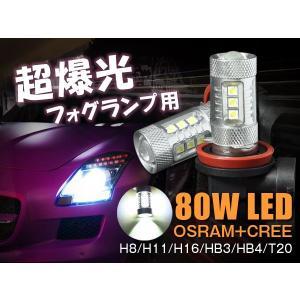 LEDフォグランプ バックバルブ 限定80w CREE社&OSRAM社開発したハイパワーled H8H11HB4HB3T20H16LEDバルブ ホワイト純白 12v専用 1年保証|sealovely777
