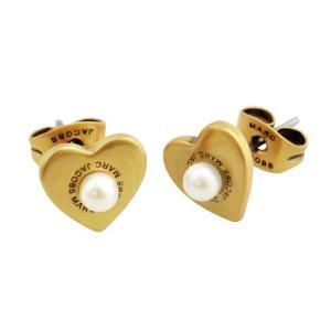 マークジェイコブス MARC JACOBS M0008660-795 Antique Gold Hearts Studs ロゴ パール ハート スタッド ピアス|sears-collection