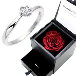 シルバーリング キュービックジルコニア プロポーズ 婚約指輪 プリザーブドフラワー 薔薇 ダイヤモンドローズ 小物入れ|sears-collection