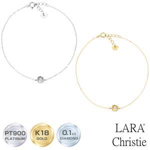 ブレスレット レディース 天然ダイヤモンド 0.1ct PT900 K18 ゴールド LARA Ch...