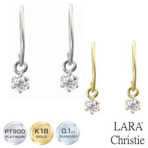 ピアス ララクリスティー LARA Christie PT900 K18 ダイヤモンド 0.1ct  フックピアス レディース プラチナ ゴールド le71-0002|sears-collection