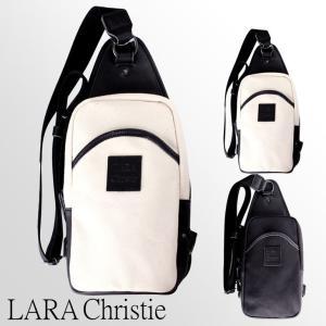ボディバッグ LARA Christie(ララクリスティー) ドレスデンシリーズ ブラック ホワイト 栃木レザー 倉敷産帆布 送料無料 sears-collection